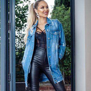 Vera Oversized Longline Ripped Denim Jacket
